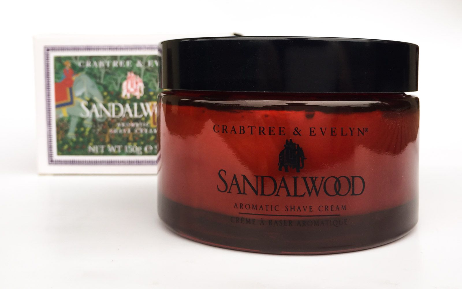 Opakowanie kremu do golenia Crabtree & Evelyn Sandalwood Aromatic Shave Cream