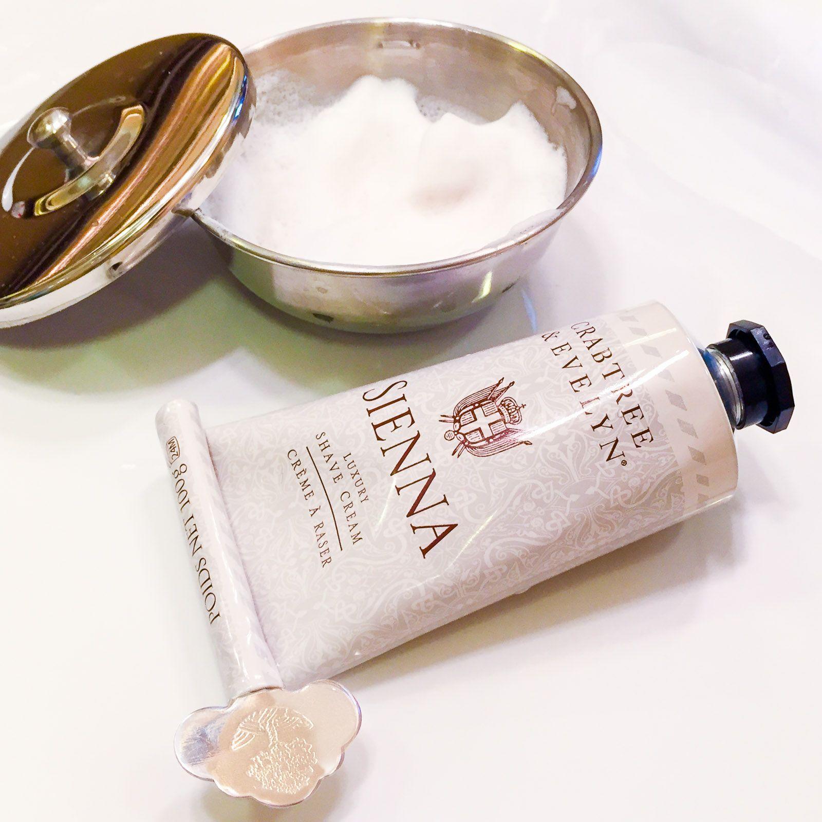 Golenie z kremem do golenia Crabtree & Evelyn Sienna Luxury Shaving Cream