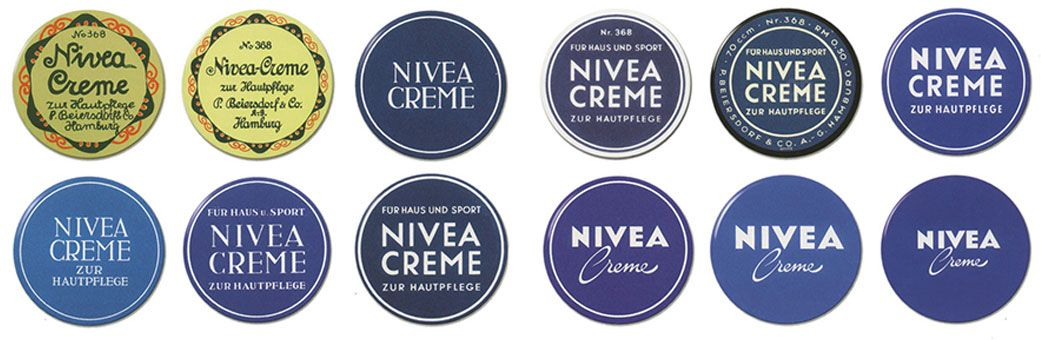 Ewolucja opakowań kremu NIVEA (grafika BeirutNightLife)