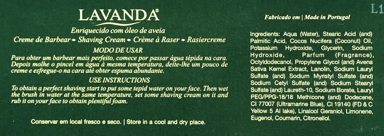 Skład kremu do golenia Ach. Brito Creme de Barbear Lavanda (ingredients)