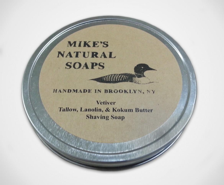 Opakowanie mydła do golenia Mike's Natural Soaps Vetiver Shaving Soap (zdjęcie Mike's Natural Soaps)