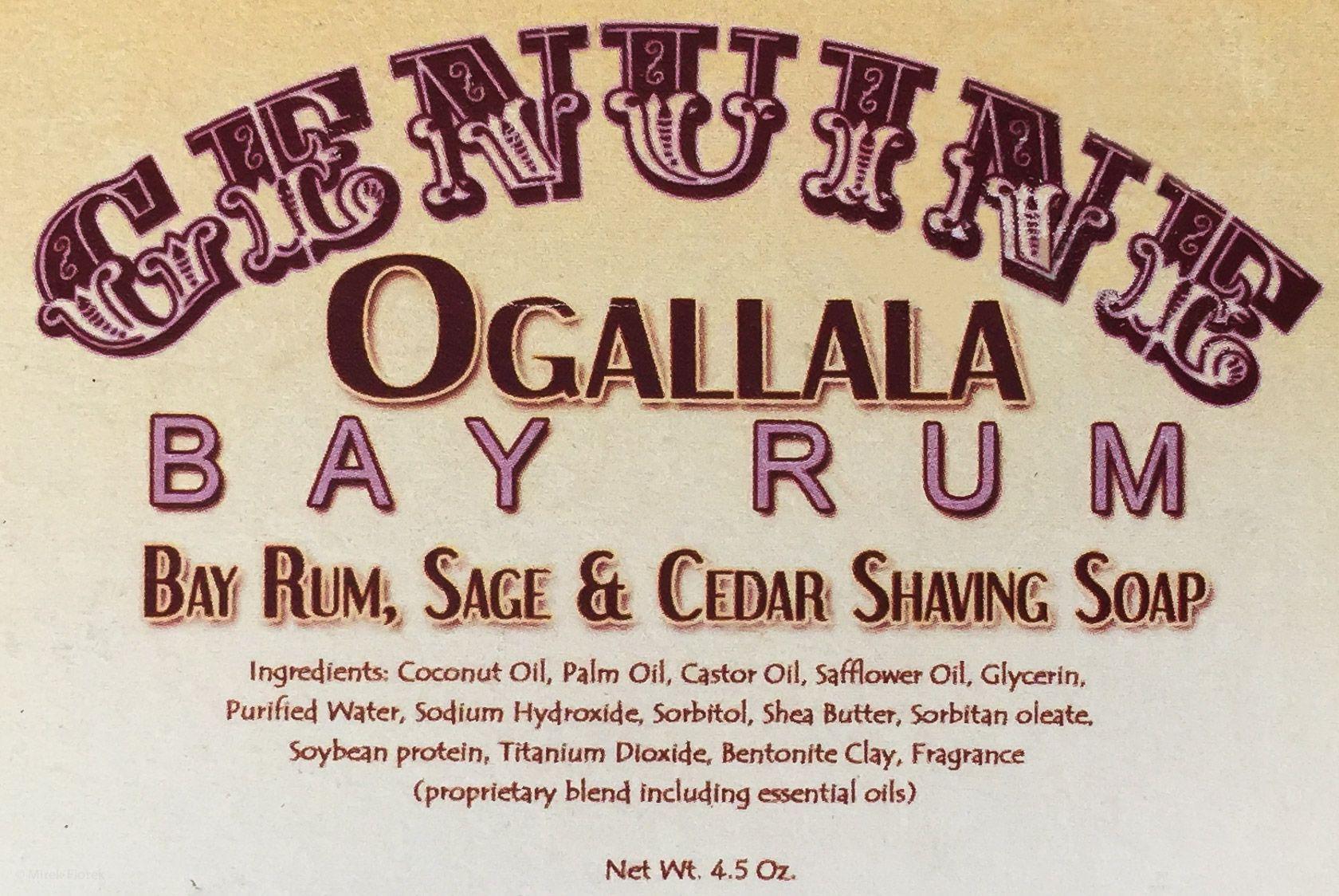 Skład (ingredients) mydła do golenia Ogallala Bay Rum, Sage and Cedar Wood Shaving Soap
