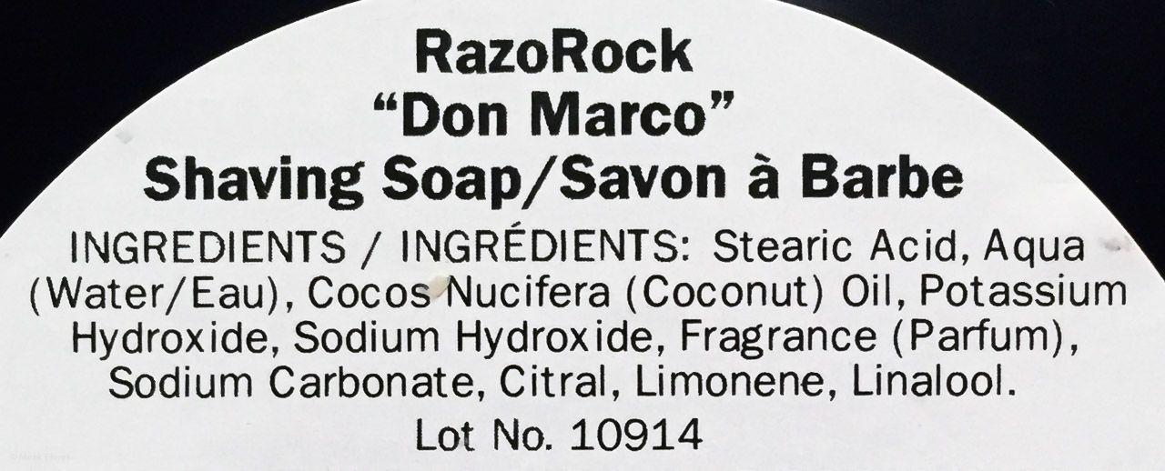 Skład mydła RazoRock Don Marco