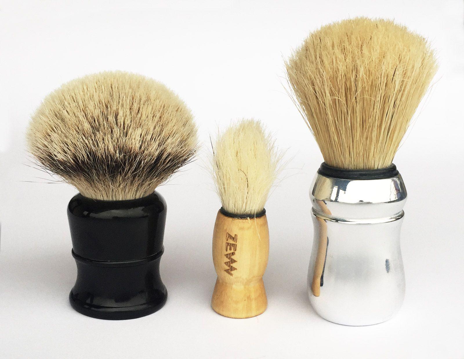Porównanie pędzli do golenia LS Silvertip Badger Brush ∅30 mm (200 zł), ZEW włosie końskie ∅17 mm i Proraso szczecina ∅28 mm (30 zł)
