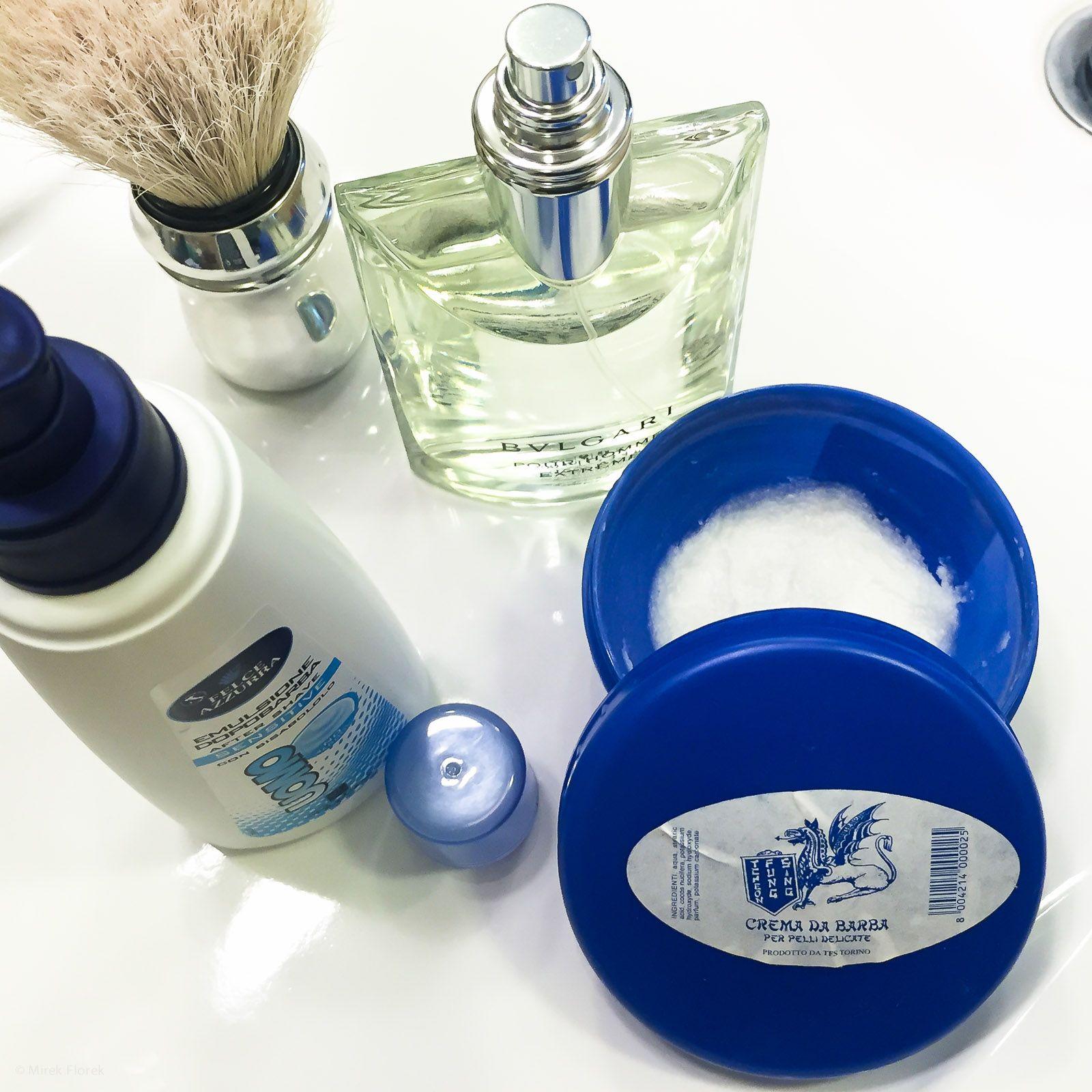 Golenie z użyciem mydła Tcheon Fung Sing Ciotola Blu Crema di Barba (Blue Jar) Shaving Soap