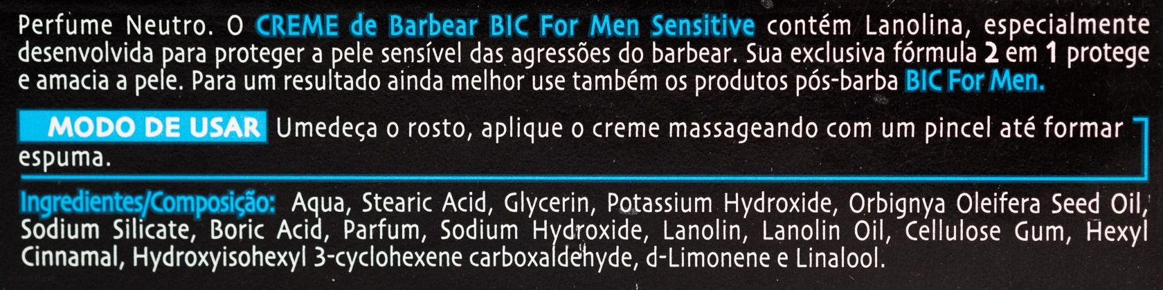 Skład kremu do golenia BiC Sensitive Creme de Barbear (Shaving Cream)