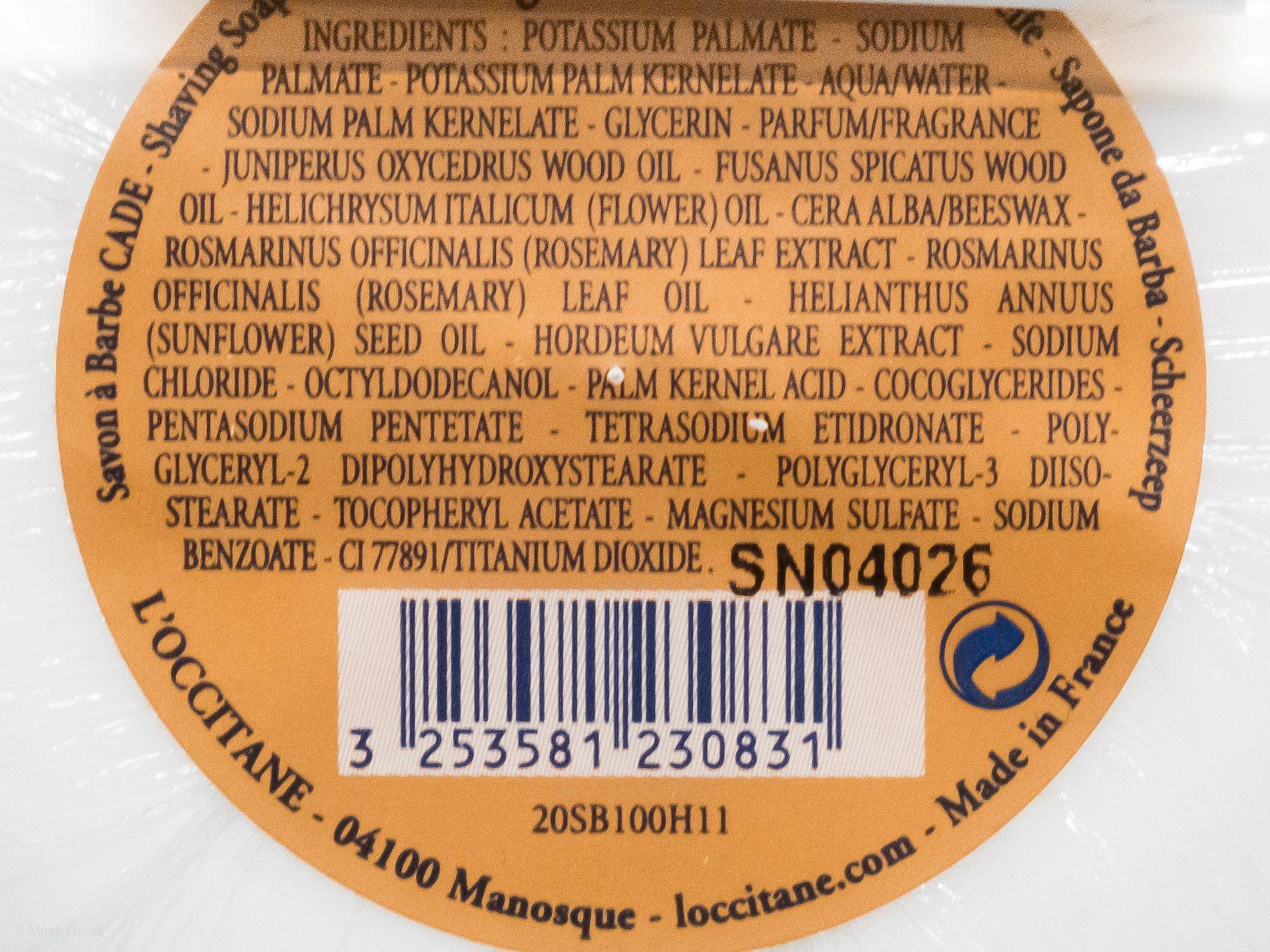 Skład mydła do golenia L'Occitane Cade Shaving Soap (Ingredients)