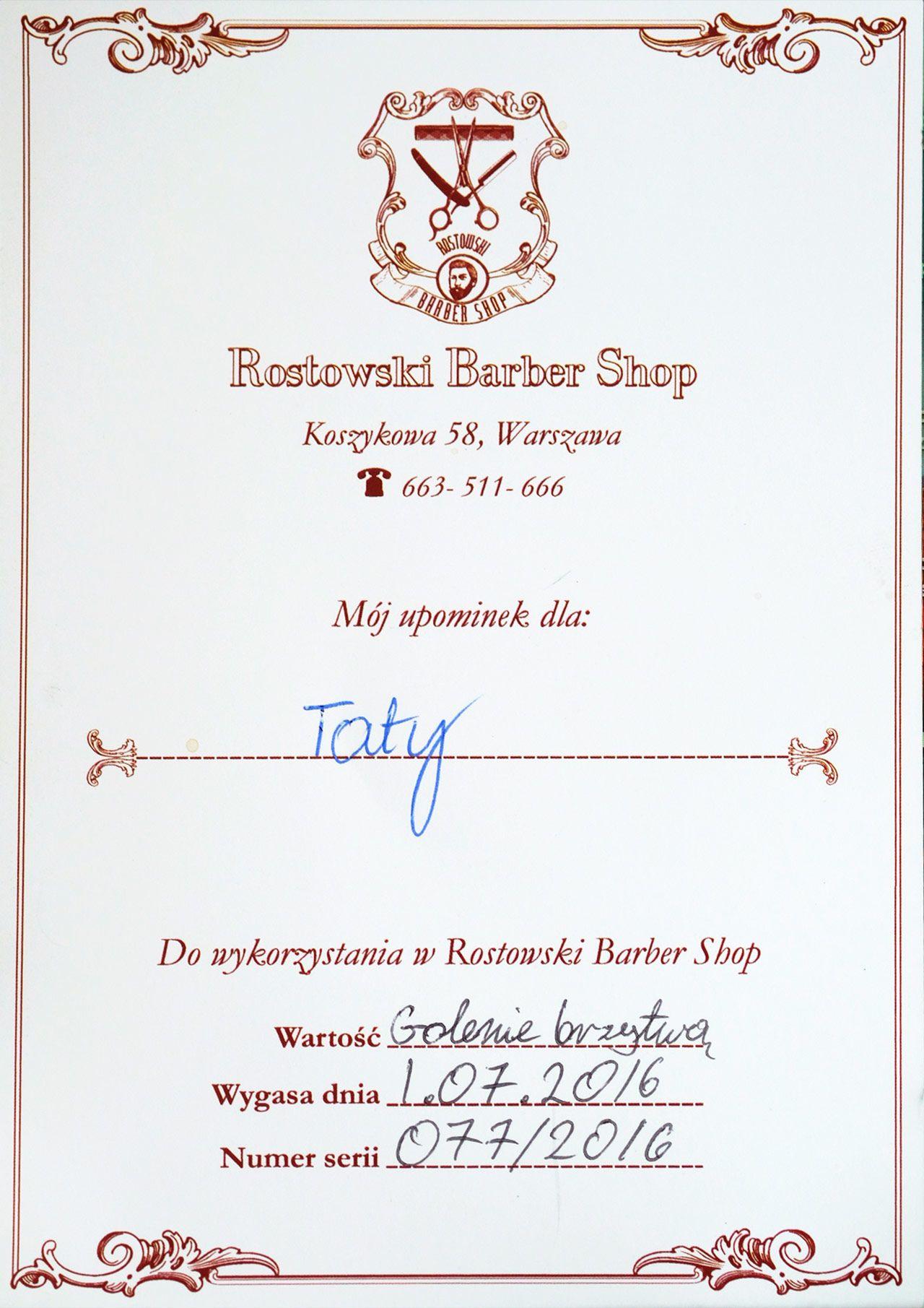 Rostowski Barber Voucher
