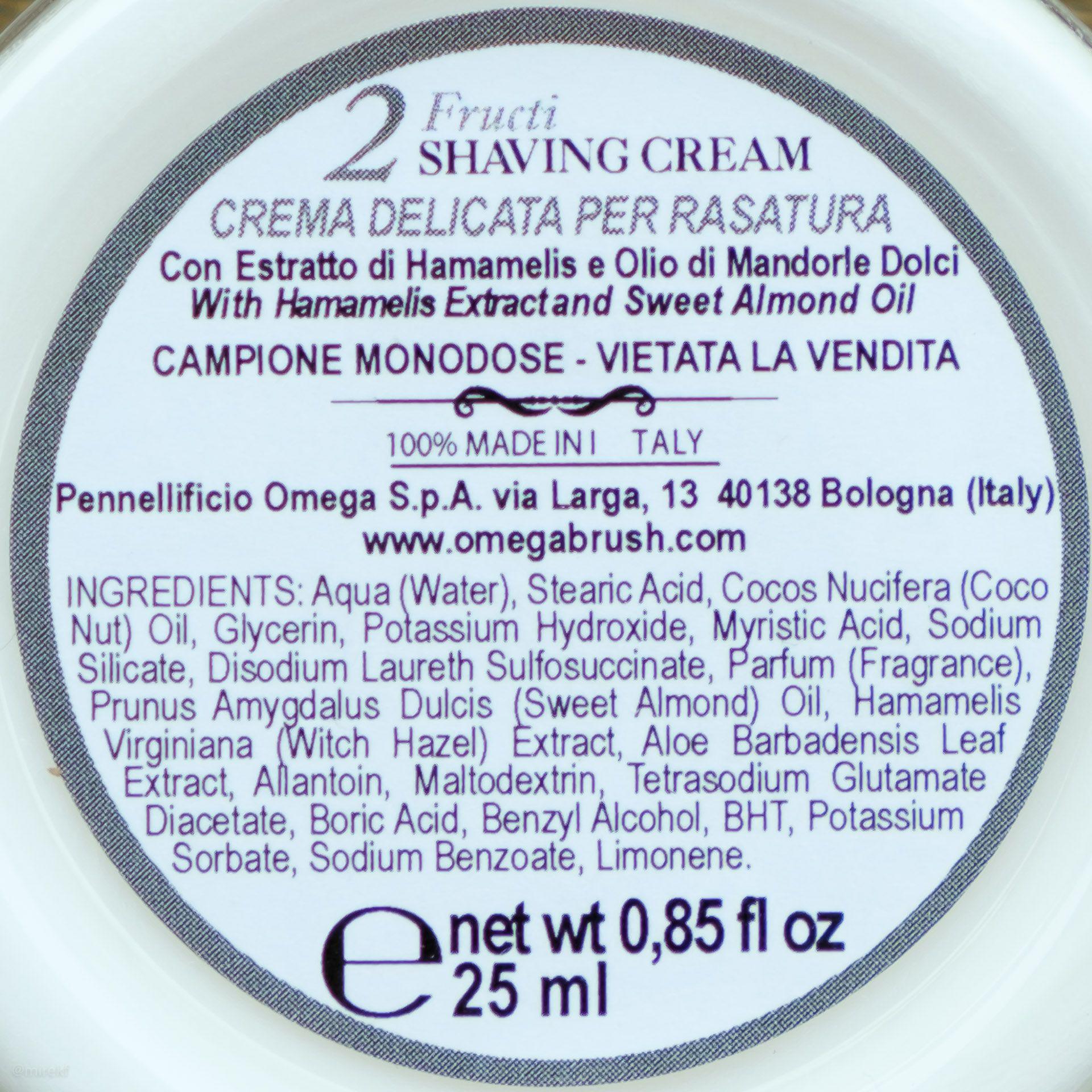 Skład kremu do golenia (INCI ingredients) Via Barberia Fructi Shaving Cream