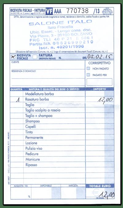 Rachunek za golenie w salonie fryzjerskim Italo Fracello w Bolzano
