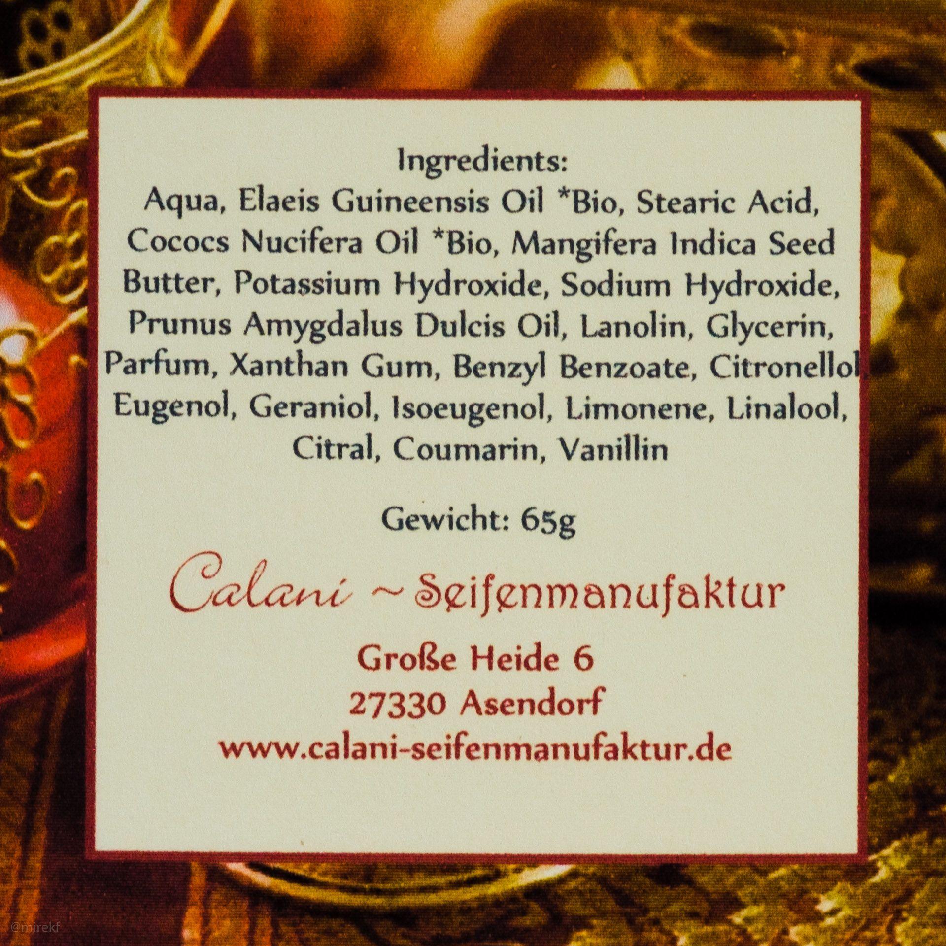 Skład mydła do golenia Calani Oriental Plum Rasierseife (shaving soap ingredients)