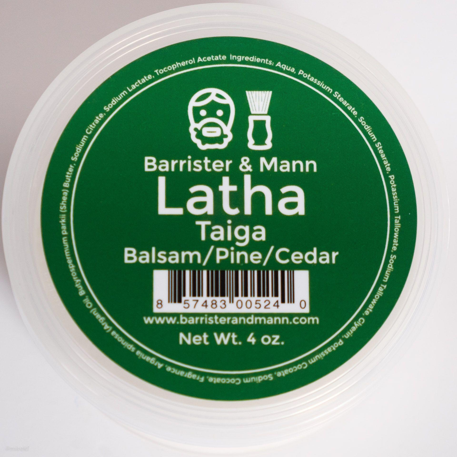 Skład mydła do golenia Barrister & Mann Latha Taiga Shaving Soap (INCI ingredients)