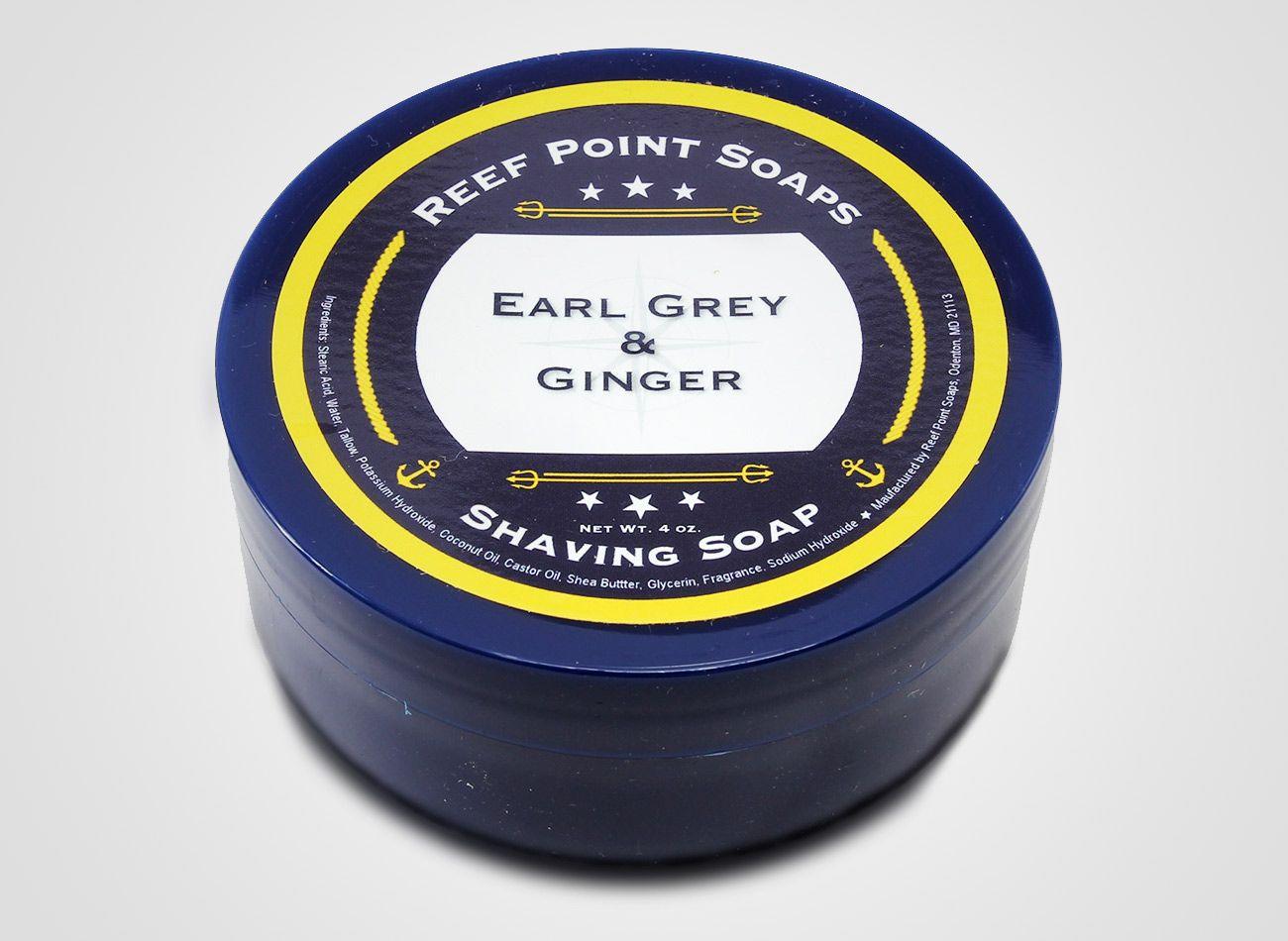 Opakowanie mydła do golenia Reef Point Earl Grey & Ginger Shaving Soap (zdjęcie Reef Point Soaps)