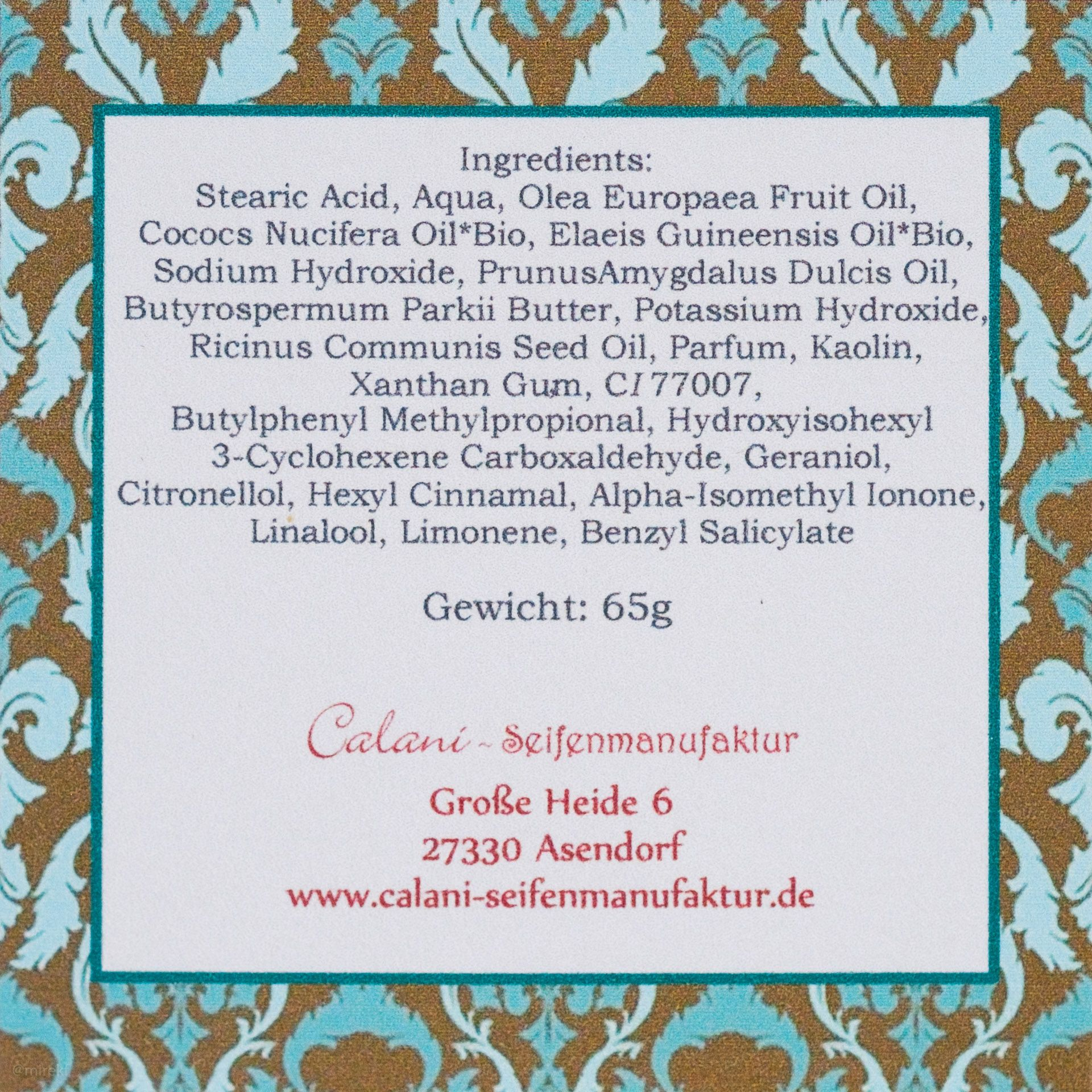 Skład mydła do golenia Calani Dubai Rasierseife (INCI Ingredients)