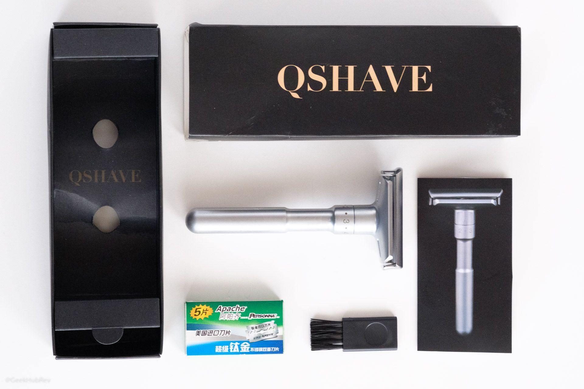 Zawartość opakowania maszynki do golenia QShave safety razor