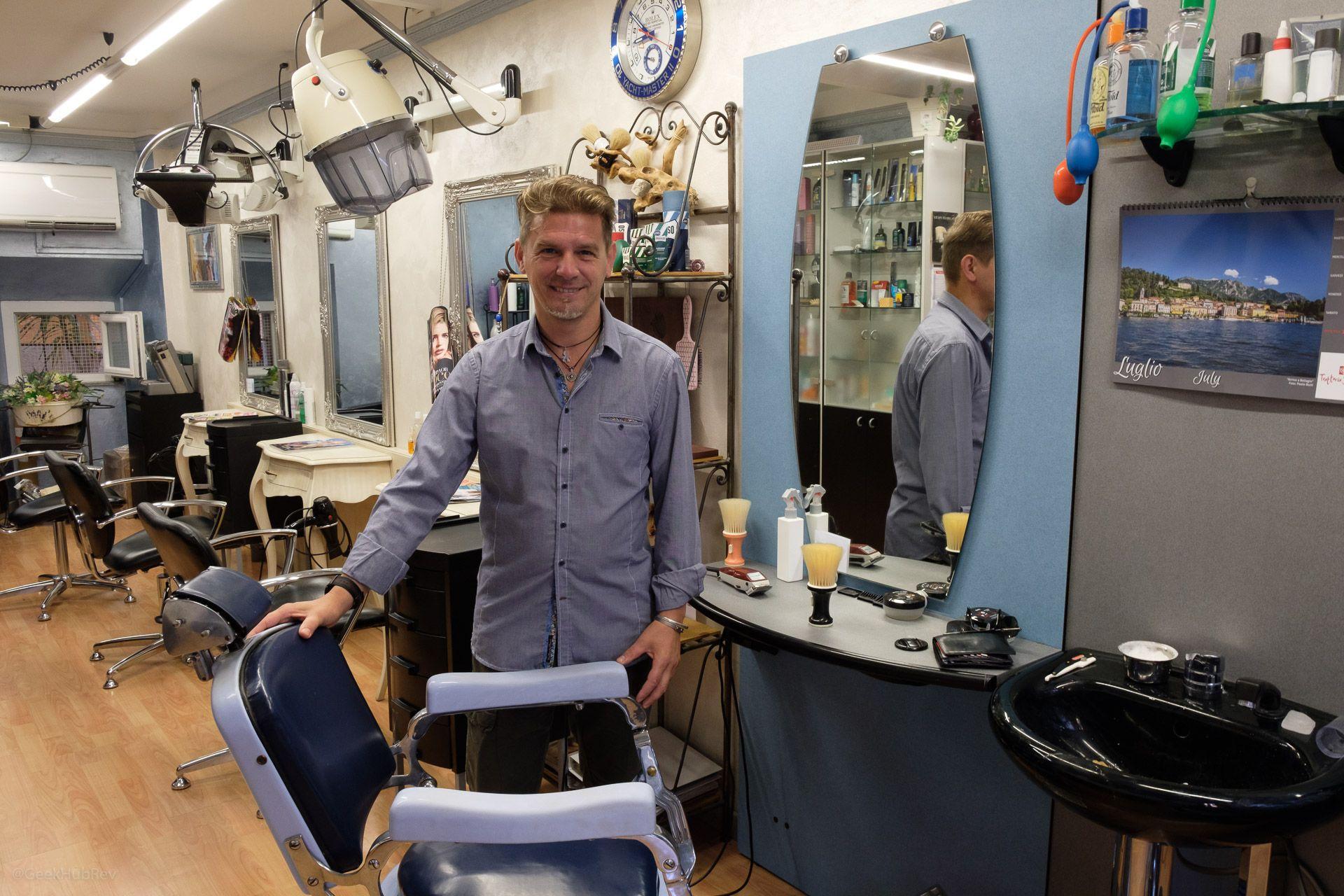 Zakład fryzjerski Carmine w Bellagio