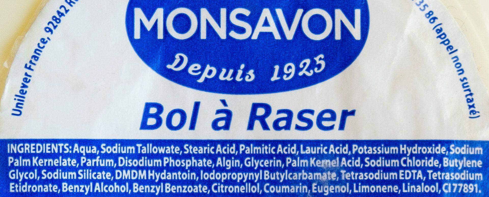 Skład mydła do golenia Monsavon Bol à Raser (INCI ingredients)