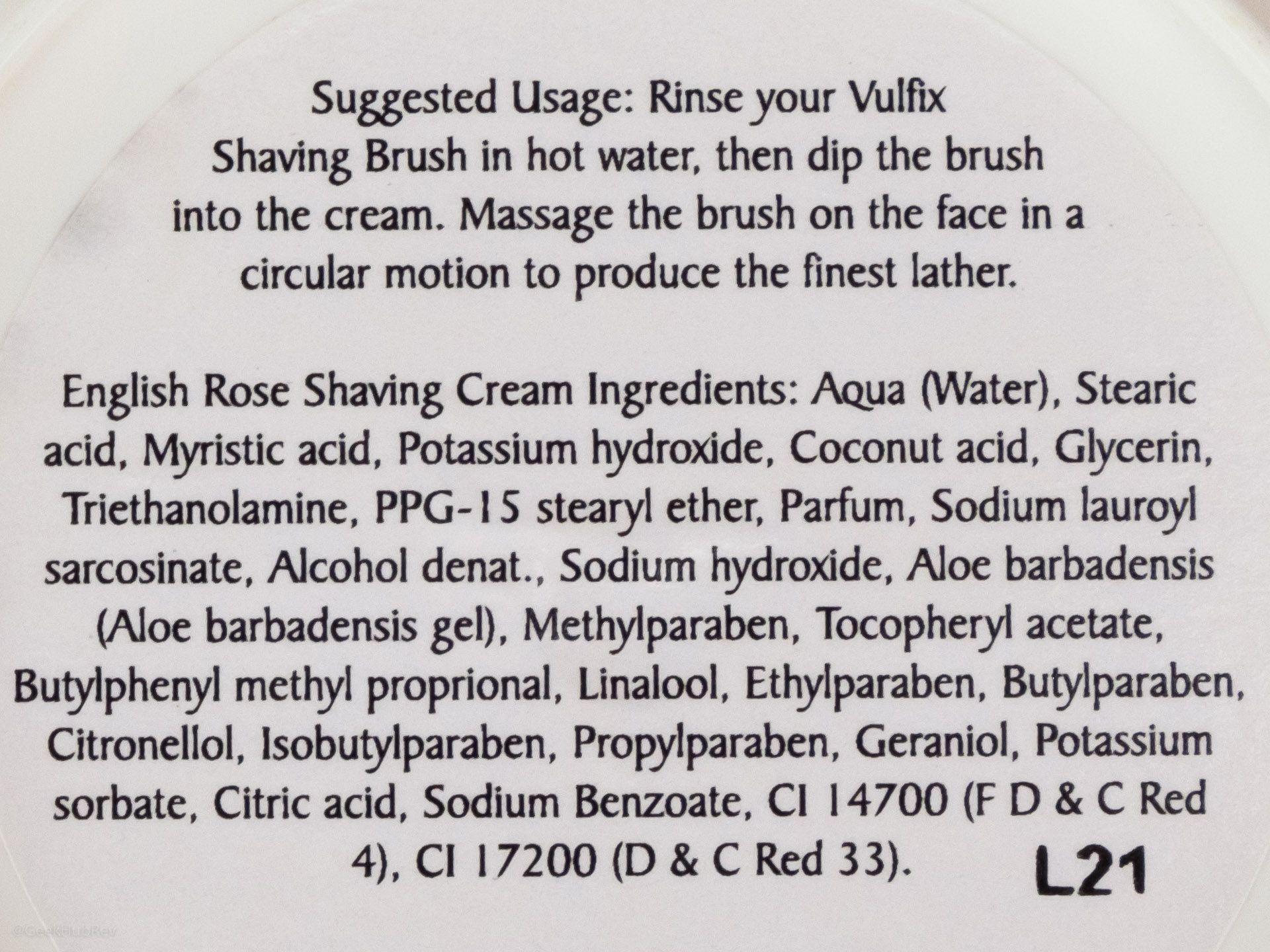 Skład kremu do golenia Vulfix English Rose Shaving Cream (INCI ingredients)