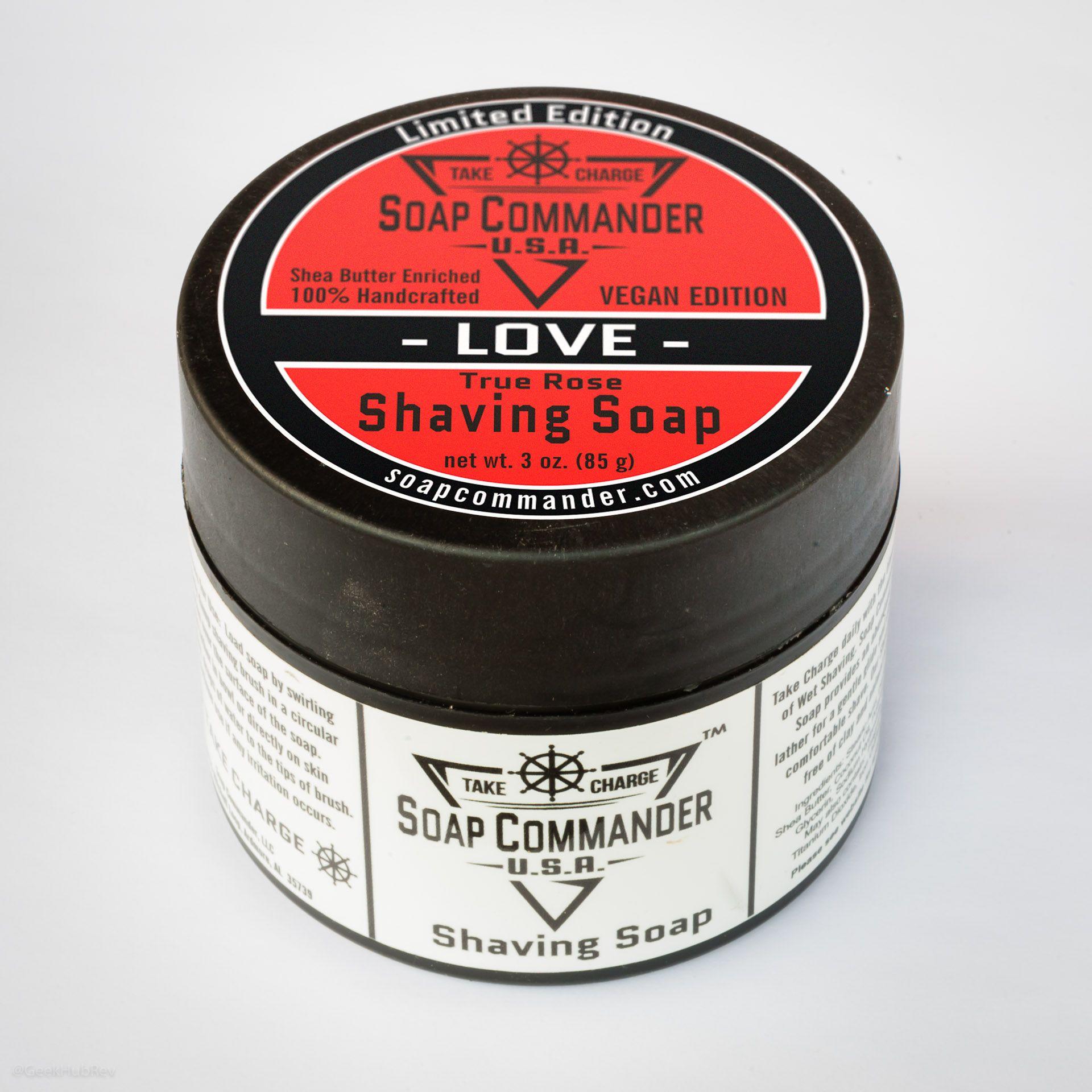 Opakowanie mydła do golenia Soap Commander Love Shaving Soap (grafika poglądowa, nowa wersja etykiety)