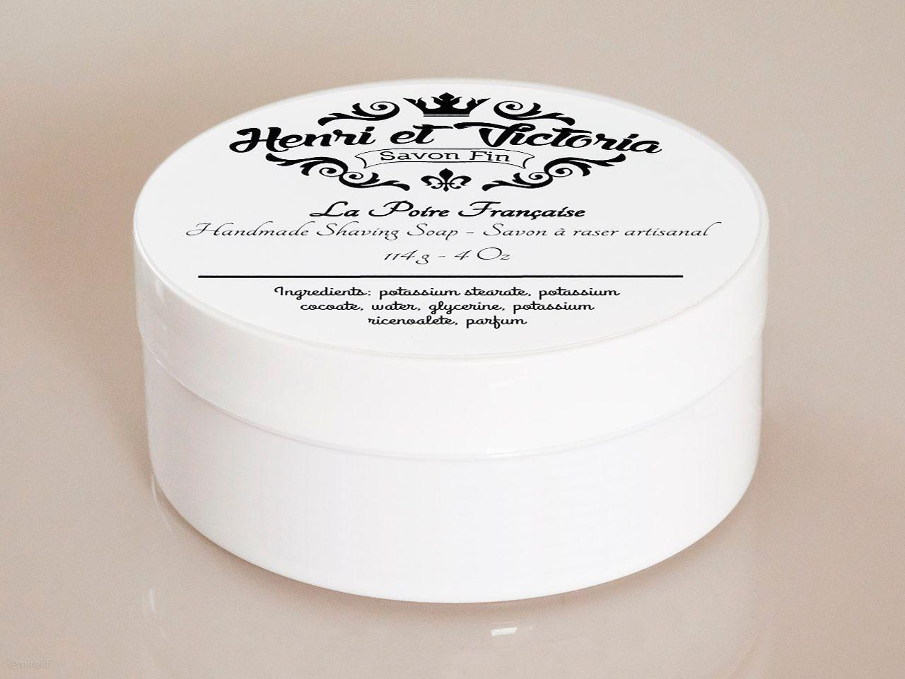 Opakowanie mydła do golenia Henri et Victoria La Poire Française Shaving Soap