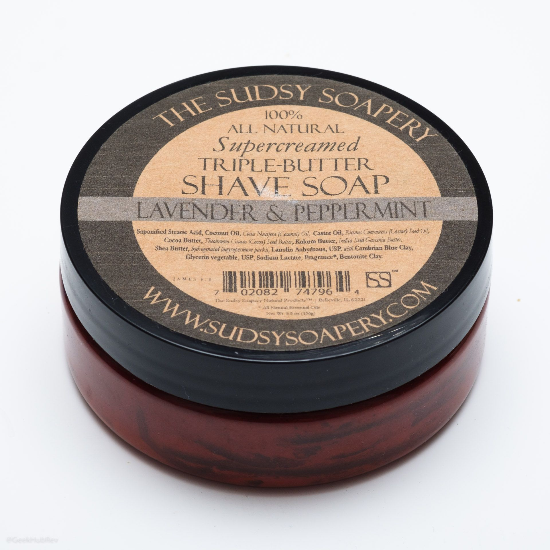 Opakowanie mydła do golenia Sudsy Soapery Lavender Peppermint Shave Soap