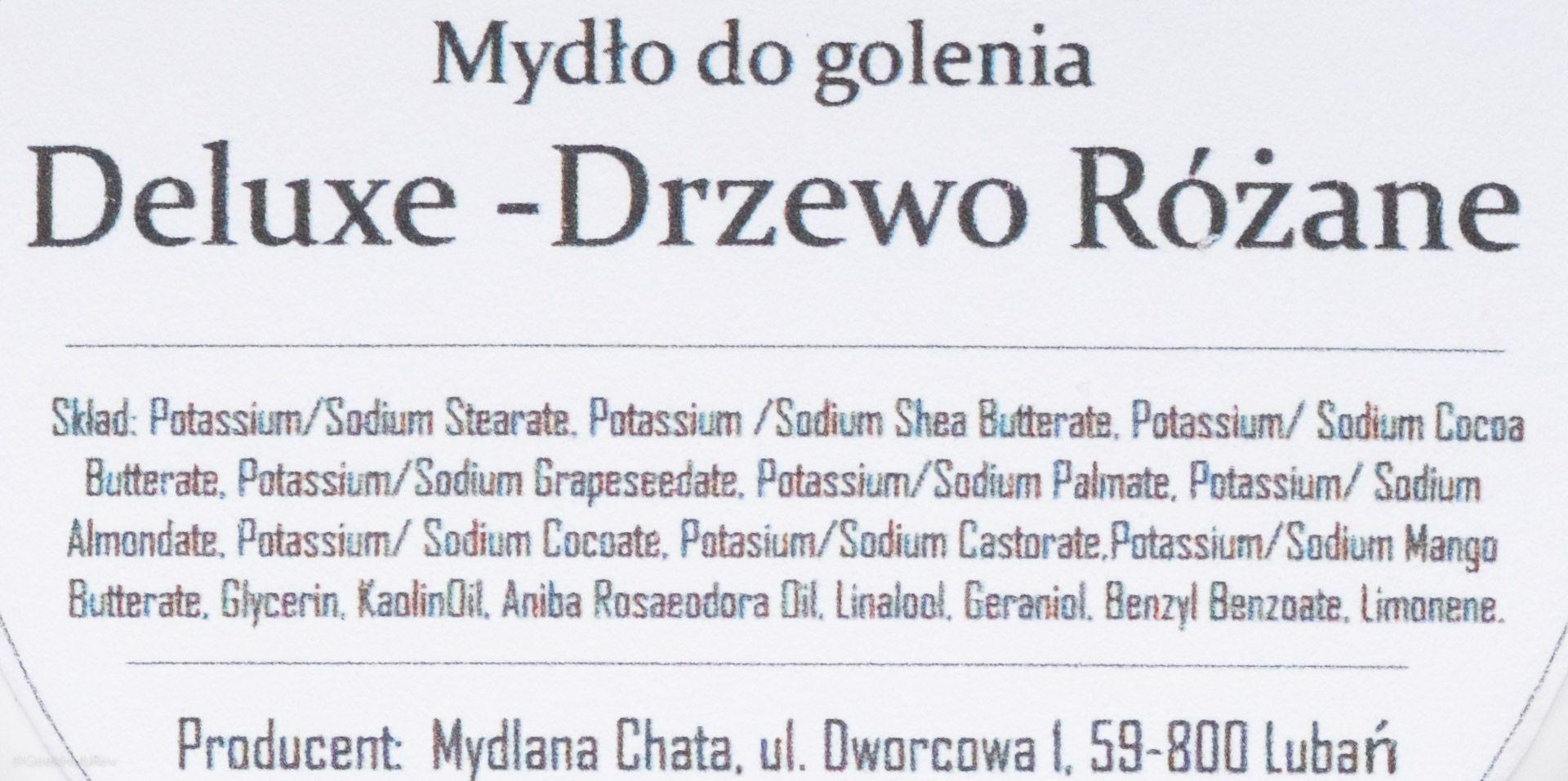 Skład mydła do golenia Mydlana Chata Drzewo Różane