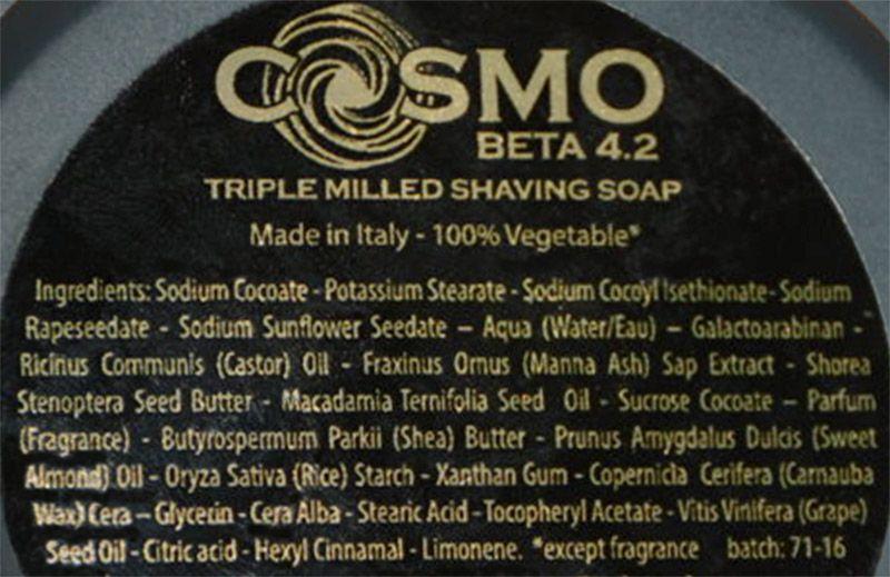 Skład mydła do golenia Saponificio Varesino Cosmo Shaving Soap (INCI ingredients)