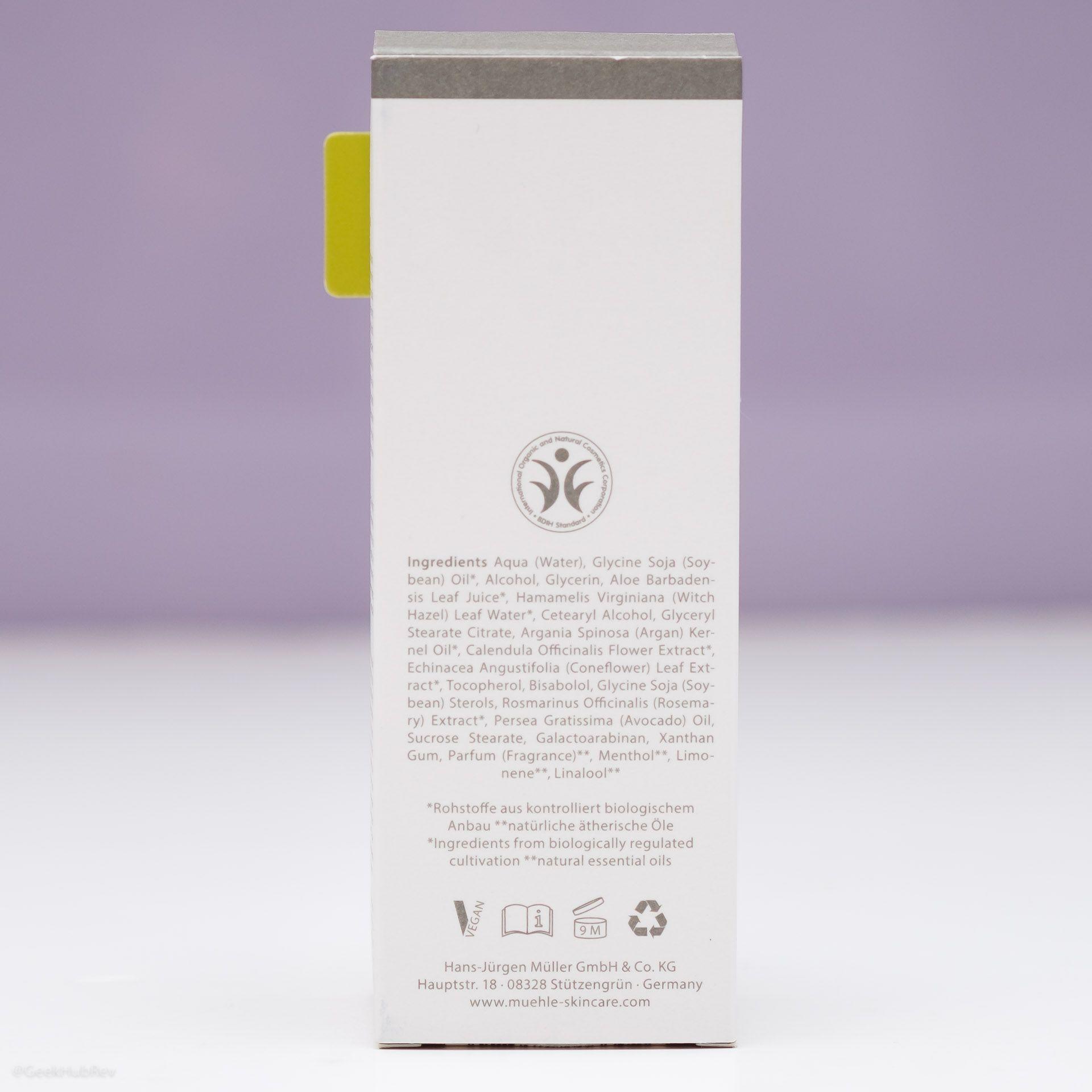 Skład balsamu po goleniu Mühle Organic Rasurbalsam (After Shave Balm INCI ingredients)