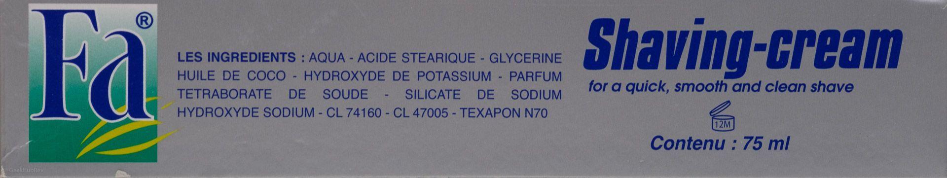 Skład kremu do golenia Fa Crème à raser (shaving cream)