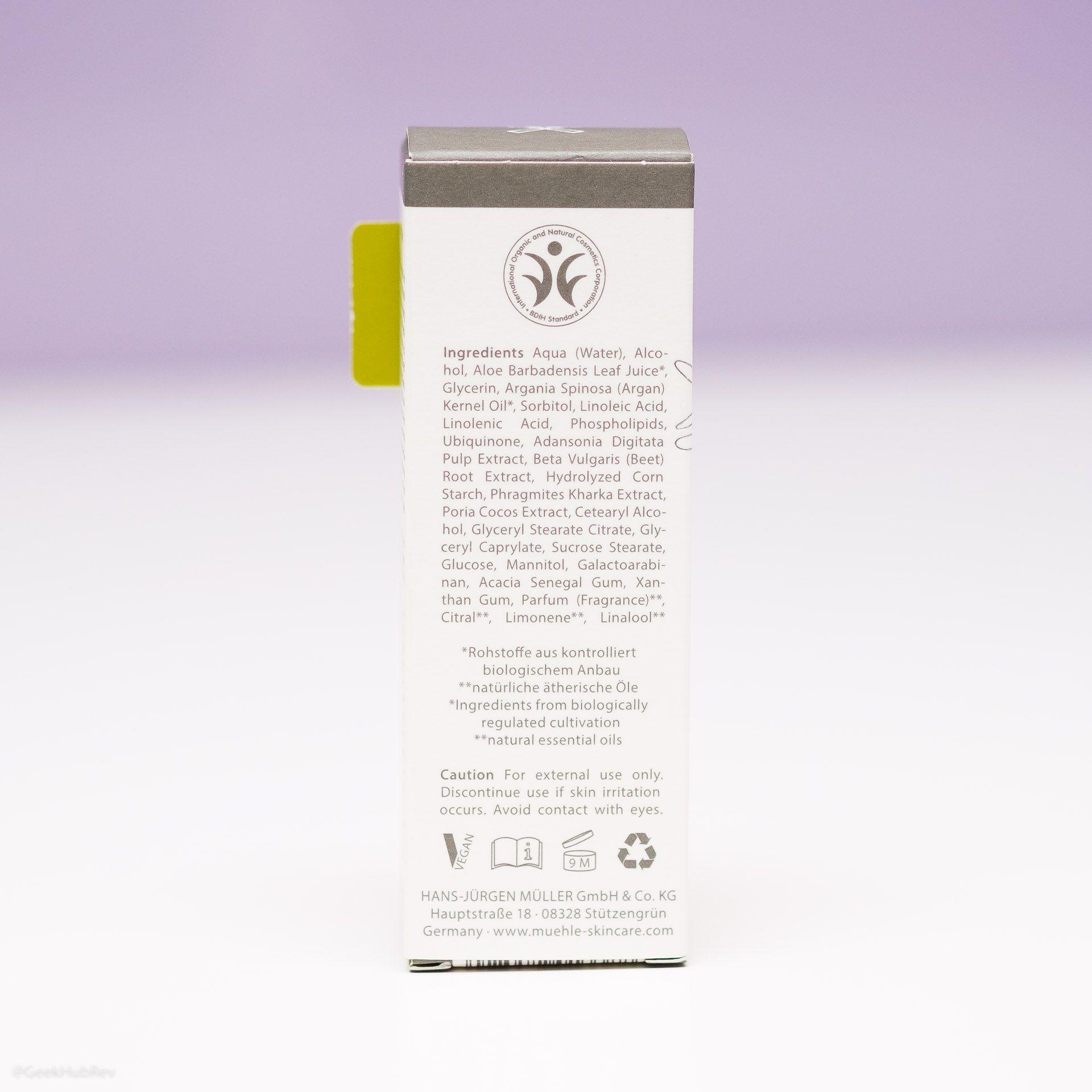 Skład serum regenerującego po goleniu Mühle Organic After Shave Serum (INCI ingredients)