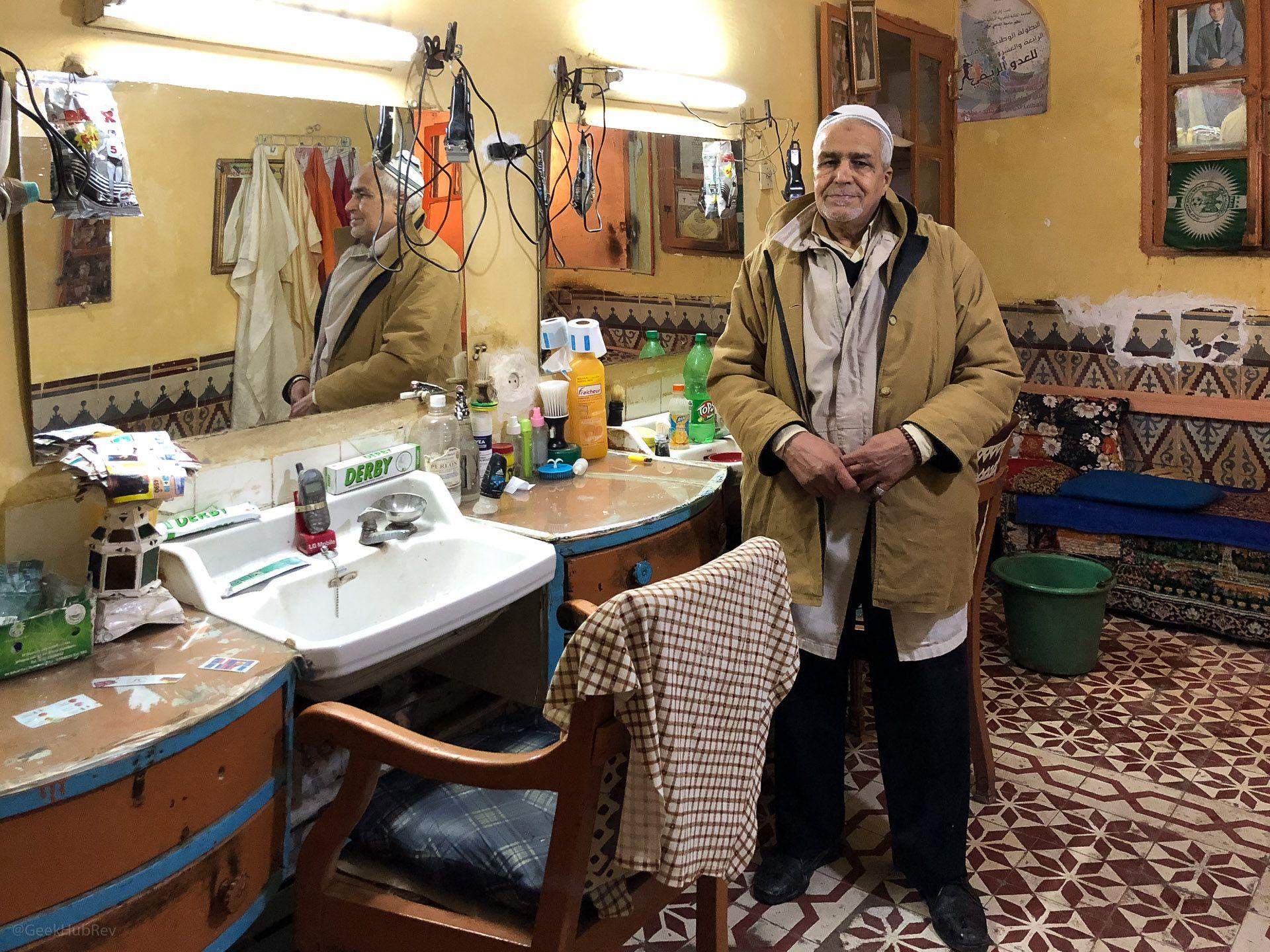 Wnętrze zakładu fryzjerskiego na Riad Zitoun Lakdim