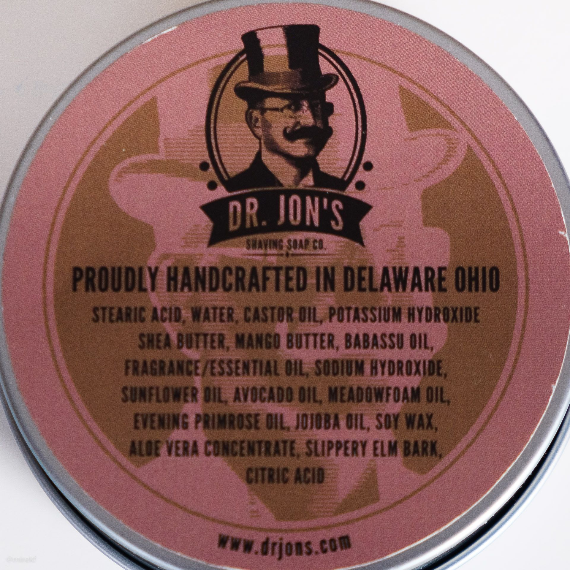 Skład mydła do golenia Dr. Jon's Anne Bonny Shaving Soap (INCI ingredients)
