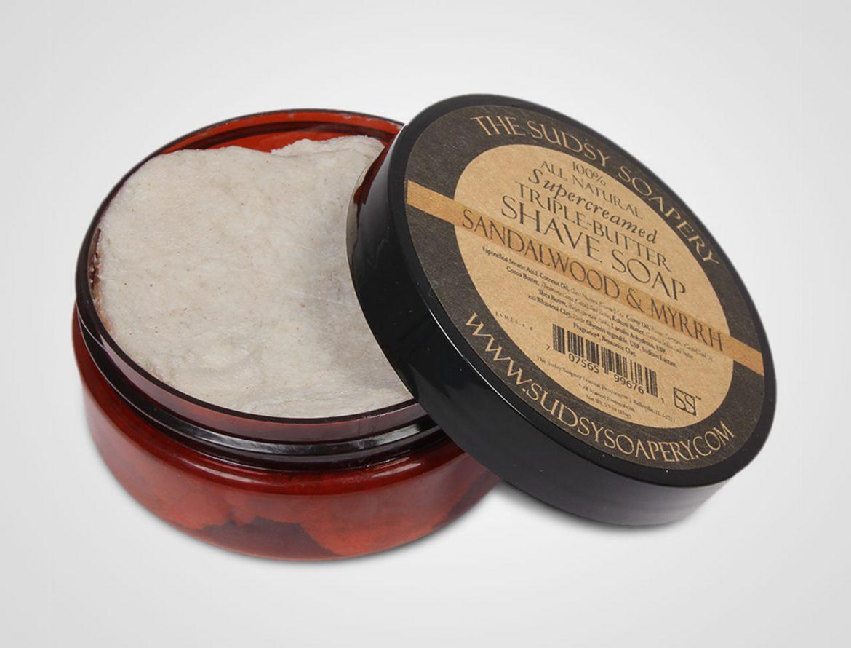 Opakowanie mydła do golenia Sudsy Soapery Sandalwood Myrrh Shaving Soap