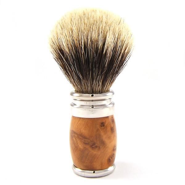 Joris European White Badger Shaving Brush, Thuja Wood (zdjęcie Fendrihan)