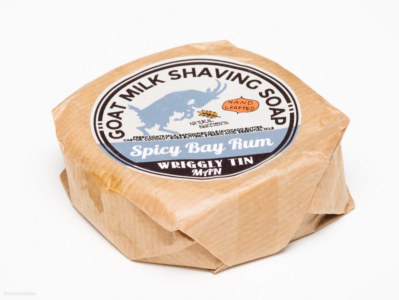 Opakowanie mydła do golenia Wriggly Tin Spice Bay Rum Goat Milk Shaving Soap