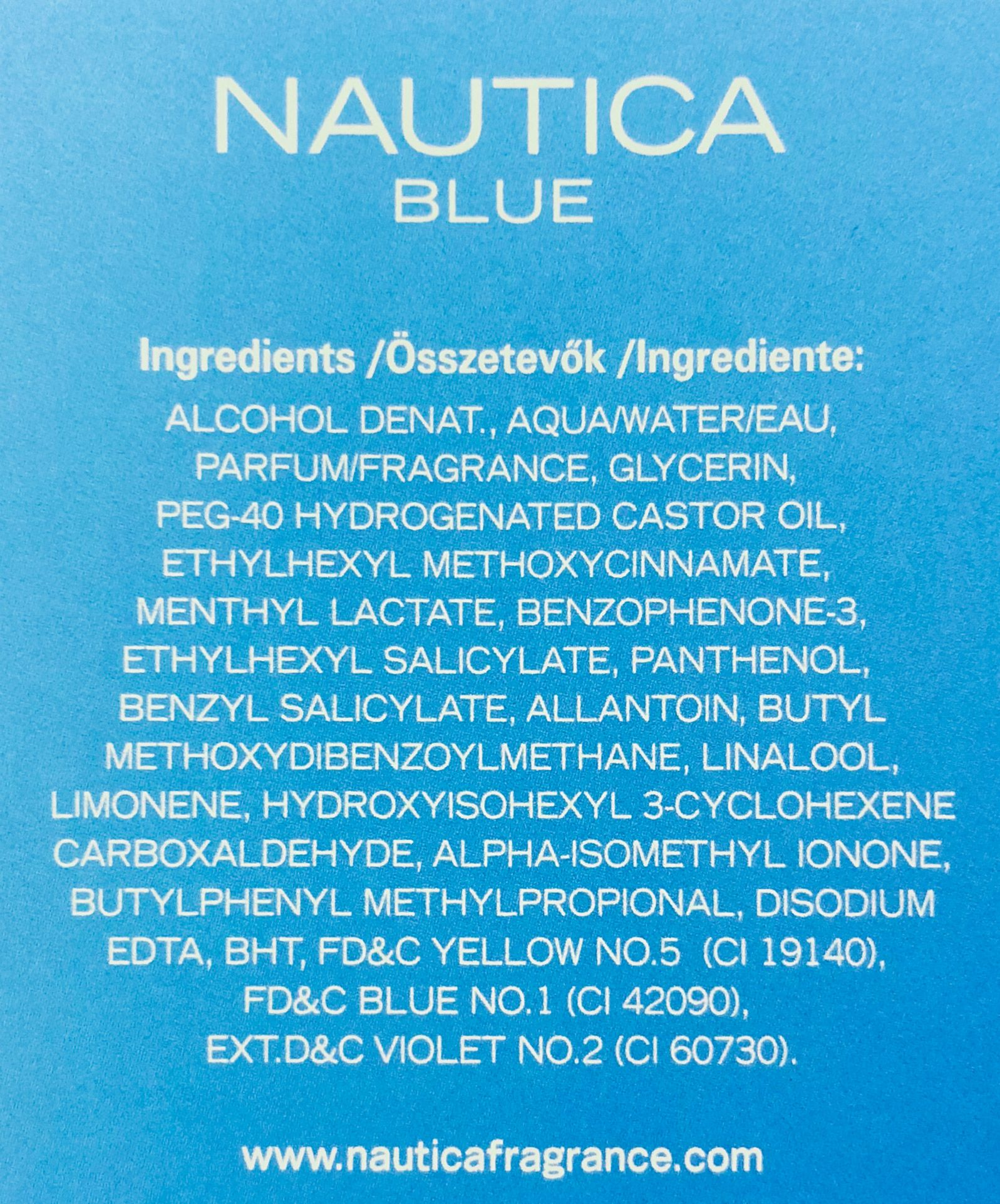 Skład wody po goleniu Nautica Blue After Shave Lotion (INCI Ingredients)